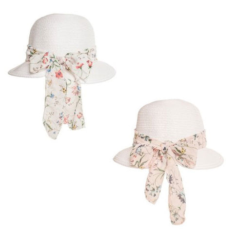 Ladies Straw Hat With Floral Chiffon Scarf