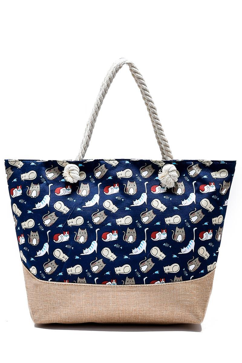 Kitten Print Beach Bag