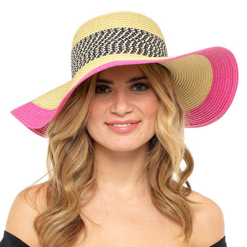 Ladies Floppy Hat With Pink Trim
