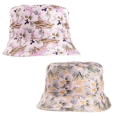Ladies Cotton Flower Print Bush Hat Pink/Yellow