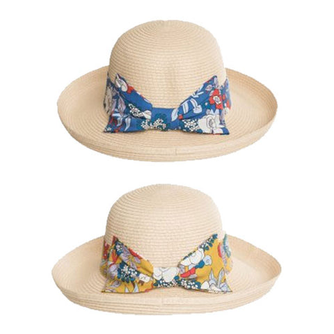 Ladies Wide Straw Hat With Flower Brim