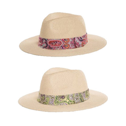 Ladies Natural Straw Fedora Hat With Paisley Print Band