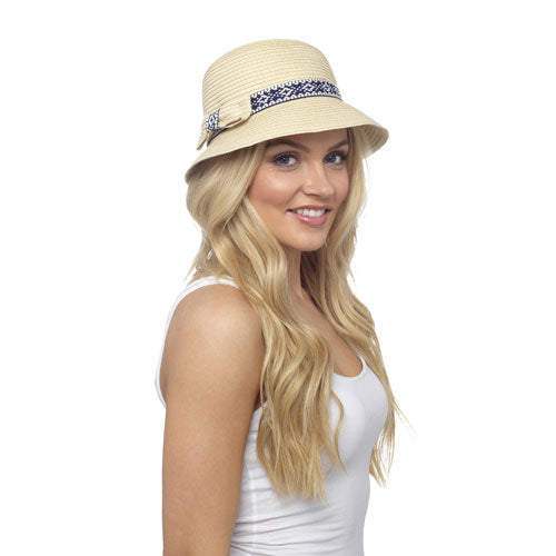 LAdies Straw Bucket Hat With Band & Bow