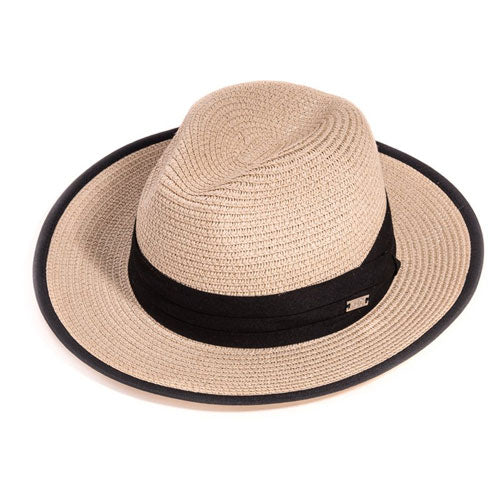 Straw Fedora Hat With Black Band