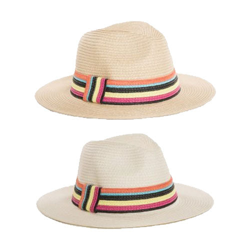 Ladies Straw Fedora Hat With Coloured Stripe Band