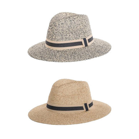 LAdies Straw Fedora Hat With Ribbon Band