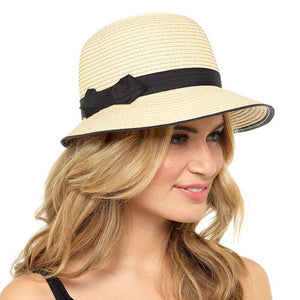 Ladies Straw Hat With Black Band And Bow