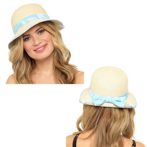 Ladies Straw Hat With Floral Band And Bow