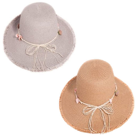 Ladies Straw Wide Brim Hat With Detail Band