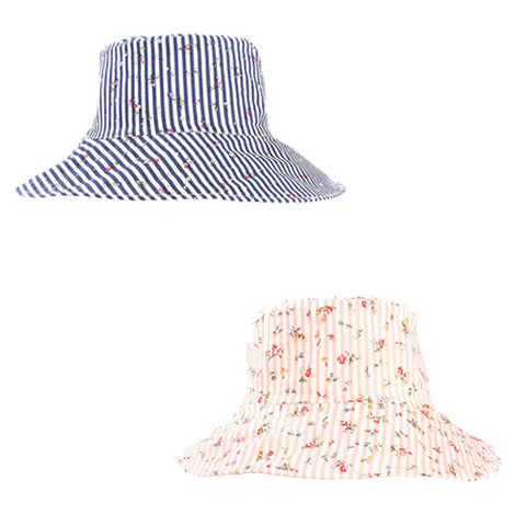 Ladies Cotton Stripe & Ditsy Flower Wide Brim Sun