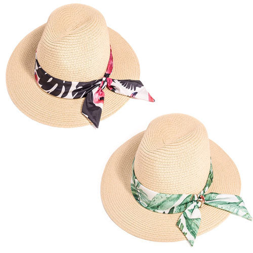 Ladies Wide Brim Straw Hat With Floral Band
