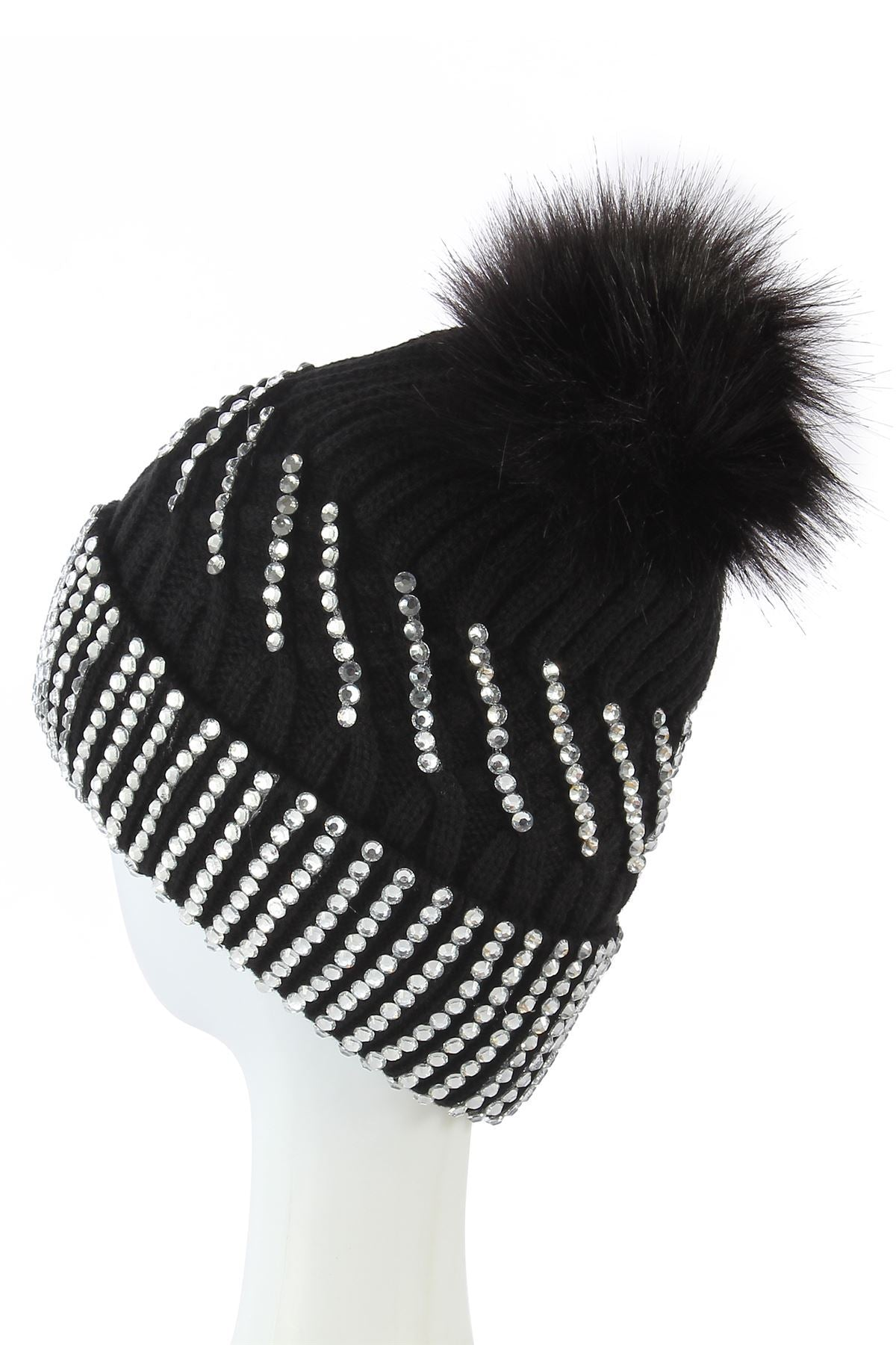 Diamante Faux Fur Pom Pom Beanie  BLACK  Knitted Hat