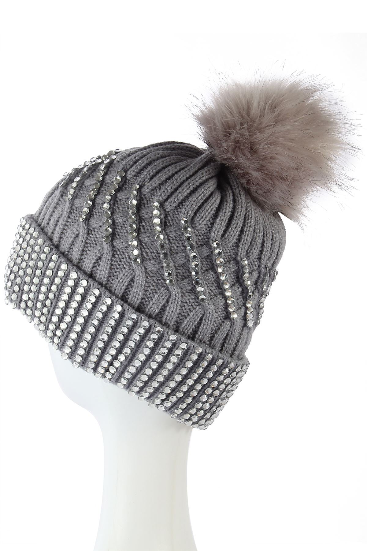 X Large Diamante Faux Fur Pom Pom Beanie Hat- GREY  Woman Knitted Hat