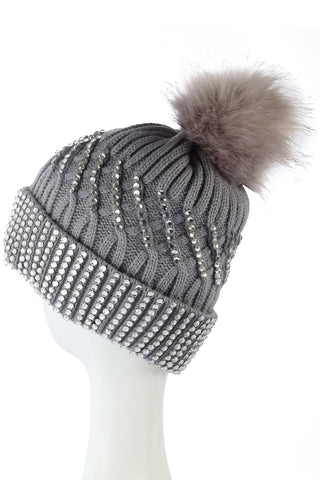Diamante Faux Fur Pom Pom Beanie GREY Woman Knitted Hat