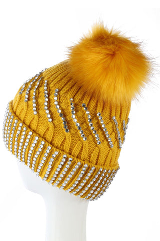 Diamante Faux Fur Pom Pom Beanie MUSTARD  Knitted Hat