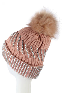 Diamante Faux Fur Pom Pom Beanie PINK Knitted Hat