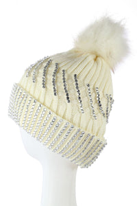 X Large Diamante Faux Fur Pom Pom Beanie Hat- WHITE  Woman Knitted Hat