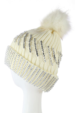 Diamante Faux Fur Pom Pom Beanie WHITE Knitted Hat