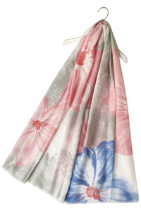 "X Large Painted Flower -Coral ""Floral scarves"""