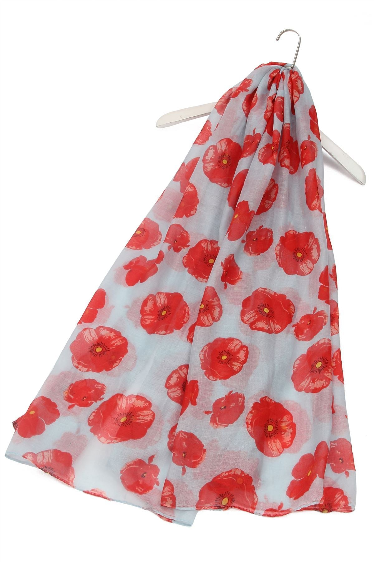 "X Large Painted Poppy Print Scarf( Grey) ""Floral scarves"""