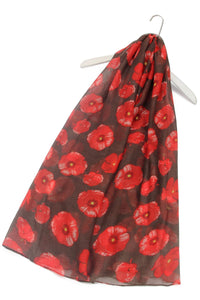 "X Large Painted Poppy Print Scarf( Brown) ""Floral scarves"""
