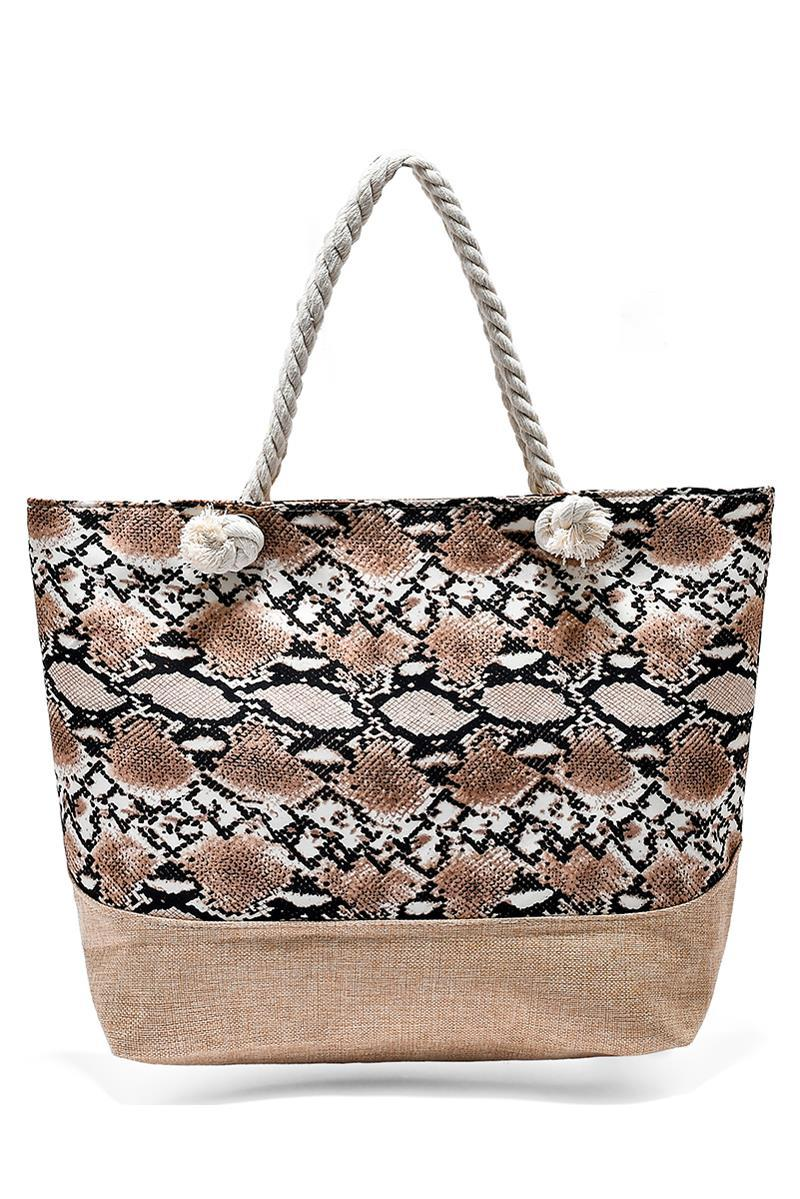 Snake Brown Beach Bag