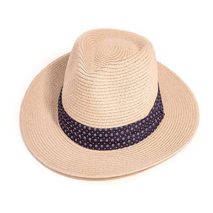 Mens Straw Fedora Hat With Pattern Band