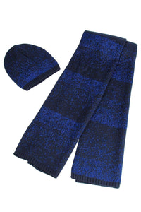 X Metallic Thread Knitted Hat _ Scarf Set- BLUE  Woman Knitted Hat