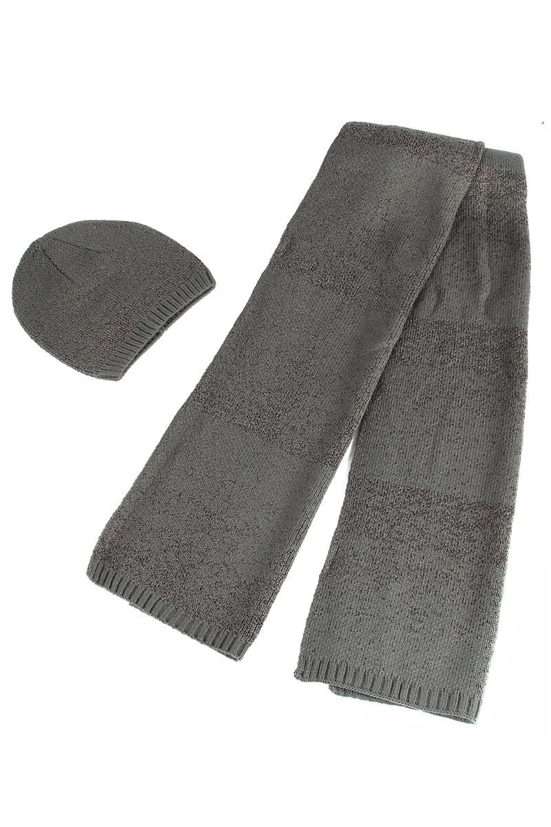 X Metallic Thread Knitted Hat _ Scarf Set- GREY  Woman Knitted Hat
