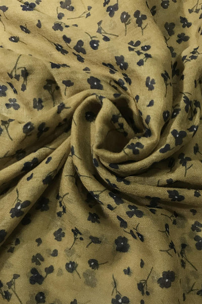 "X Mini Flowers _ Stripe Border Print Scarf( Mustard) ""Floral scarves"""
