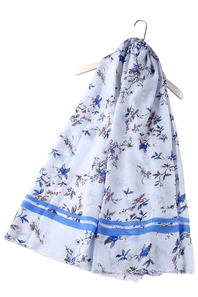 "X Mini Glitter Florals With Stripe Border Scarf( Sky Blue ) ""Floral scarves"""