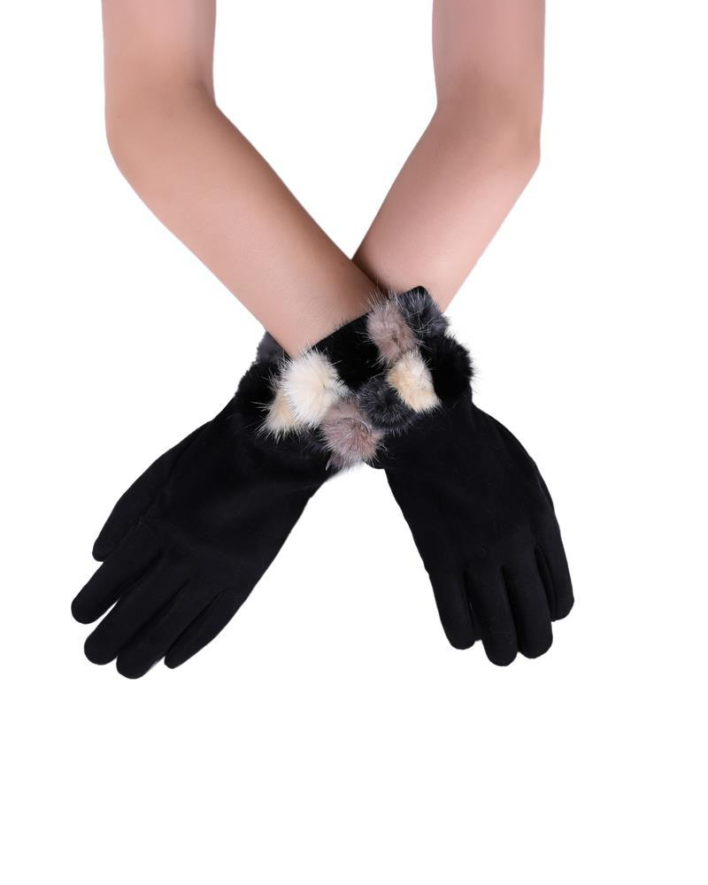 X Mini Real Fur Mix Pom Pom Plain Touchscreen Gloves- BLACK Woman Gloves