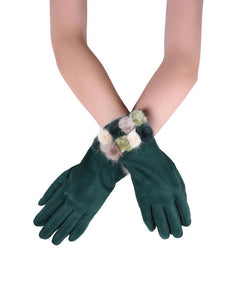 X Mini Real Fur Mix Pom Pom Plain Touchscreen Gloves- GREEN  Woman Gloves