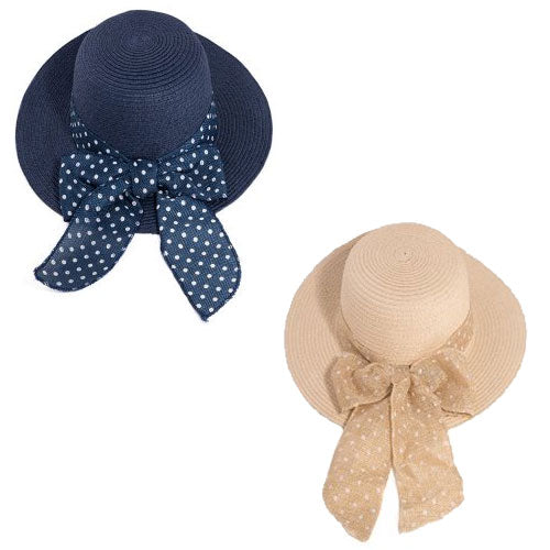 Ladies Straw Wide Brim Hat With Spot Band/Bow