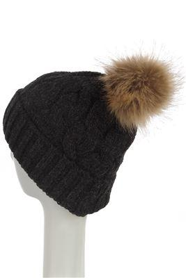 X Plain Faux Fur Cable Twist Beanie Hat- BLACK  Woman Knitted Hat