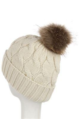X Plain Faux Fur Cable Twist Beanie Hat- CREAM  Woman Knitted Hat