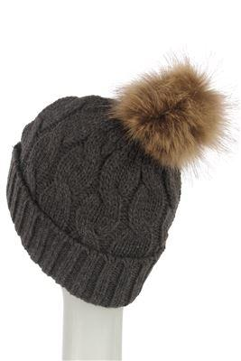 Plain Faux Fur Cable Twist Beanie GREY Knitted Hat