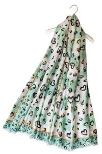 "X Playful Heart Print Frayed Scarf( Green) ""Floral scarves"""
