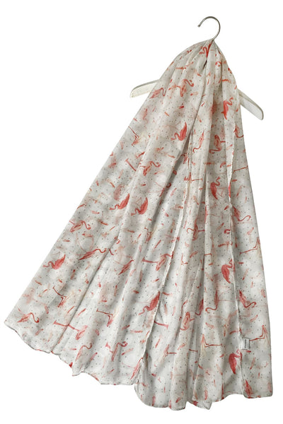 "X Polka Dot Flamingo _ Feather Print Scarf  ( Off White) ""Floral scarves"""