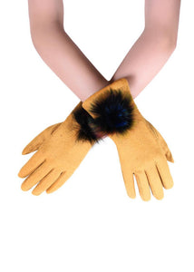 X Rainbow Spiral Real Fur Mix Pom Pom Touchscreen Gloves- MUSTARD  Woman Gloves