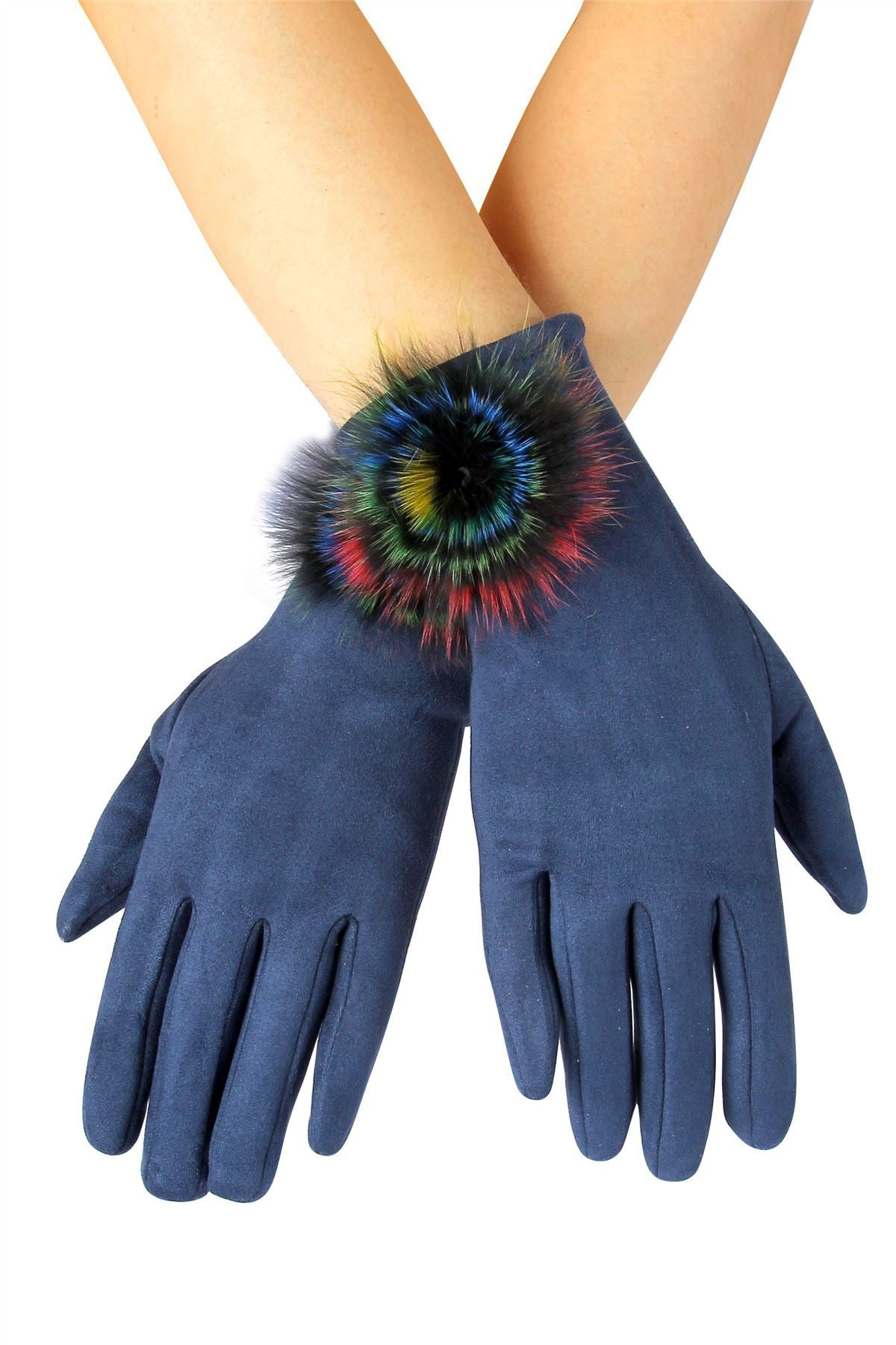 X Rainbow Spiral Real Fur Mix Pom Pom Touchscreen Gloves- NAVY BLUE  Woman Gloves