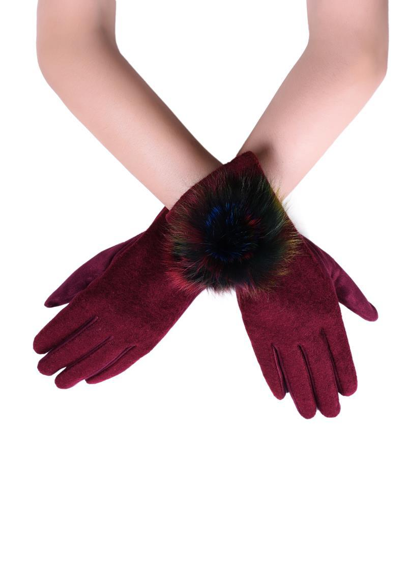 X Rainbow Spiral Real Fur Mix Pom Pom Touchscreen Gloves- WINE  Woman Gloves