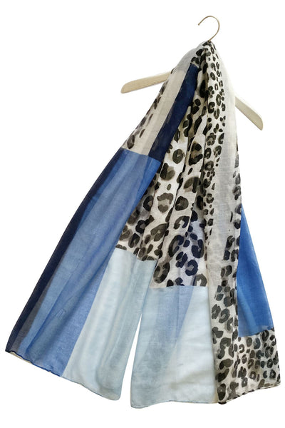 "X Rectangle Leopard Print Scarf( Blue) ""Floral scarves"""