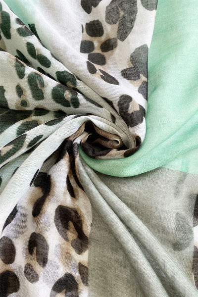 "X Rectangle Leopard Print Scarf( Green)  ""Floral scarves"""