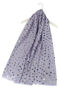 Rose Gold Leaf Print Lilac Scarf