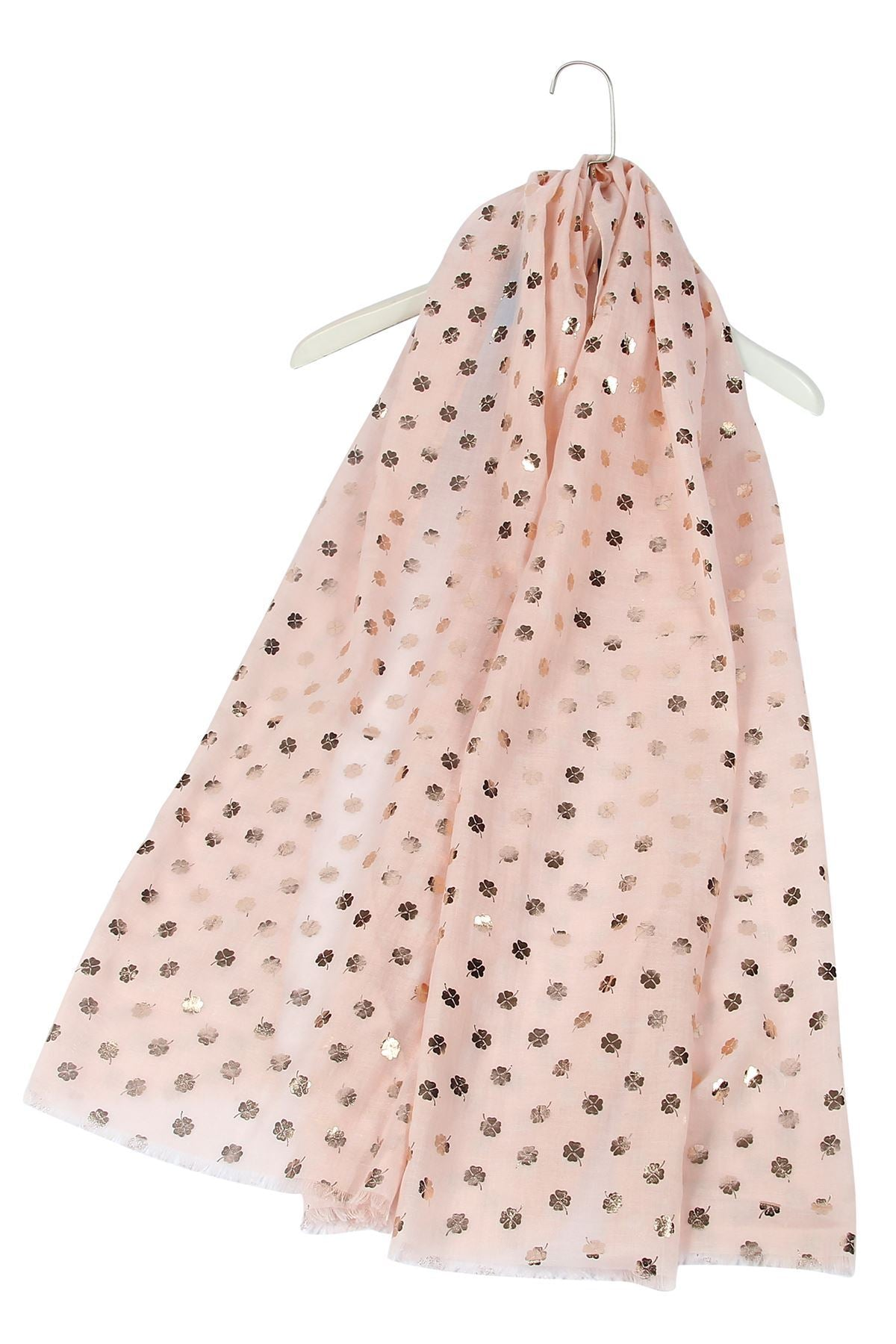 Rose Gold Leaf Print Pink Scarf