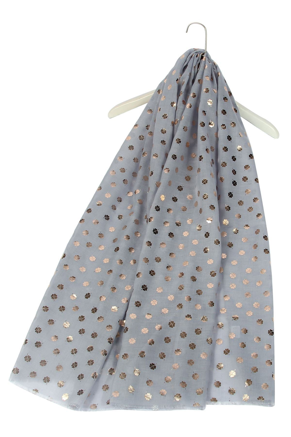 Rose Gold Leaf Print Greay Scarf