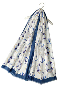 "X Seaside Anchor Print Frayed Scarf( White) ""Floral scarves"""