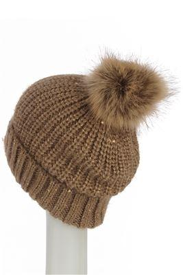 Sequins Pom Pom Beanie BROWN Knitted Hat