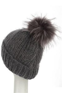 X Sequins Pom Pom Beanie Hat- GREY  Woman Knitted  Hat